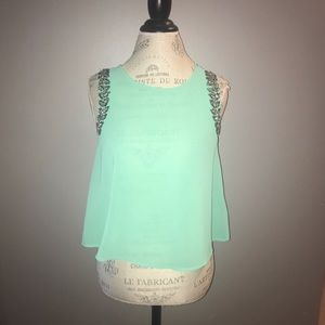 Light Mint Sheer Top with Jeweled Neckline Size S